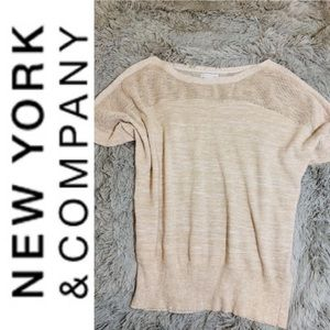 NEW YORK & CO >NWOT! Metallic Cream Dolman Sleeve